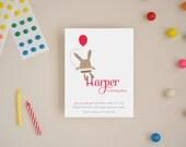 Custom Invitations - Bunny Balloon - Choose Your Colors