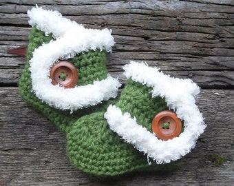 Baby Booties, Fur Timmed Boots, Baby Boots, Crochet Baby Booties, Green, Baby Ankle Boots, Photo Prop, Avocado, Vanilla