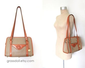 Vintage Dooney and Bourke Taupe Color Pebble Leather with British Tan Leather  Shoulder Bag