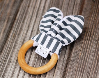 Bunny Biter - Natural Maple Teether with removable fabric ears - Grey Stripe