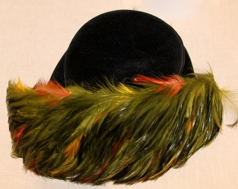 Vintage Black Hat with Multi Colored Feathers and Satin Band