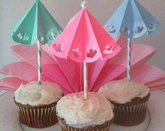 Umbrella Cupcake Topper Set of 12.