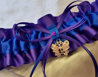Butterfly Wedding Garter , beautiful  purple and electric blue satin  with butterfly charm