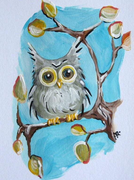 Owls Fall Foliage Hoot Owl Original Acrylic Painting onSimple Owl Painting