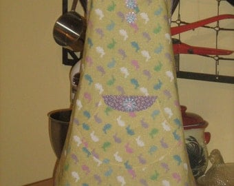 Child's Easter Chef Style Bib Apron With Matching Doll Apron