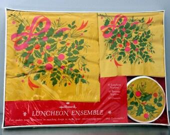 HALLMARK - LUNCHEON ensemble - NIB - unopened boxed - napkins - coasters - Christmas  - holly - pink - gold