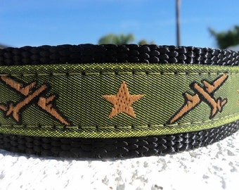 """Military Dog Collar Airplanes Green  3/4"""" or 1"""" wide Quick Release buckle - upgrade to martingale collar"""