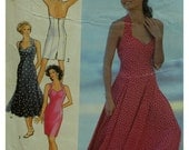 Halter Sundress Pattern, Evening Wear, Heart Shaped Bodice, Fitted Bodice, Fitted or Flared Skirt, Style No. 2078  Size 6 8