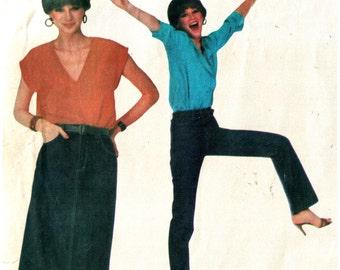 Calvin Klein 1980s Exact  Fit Jeans Pattern, Jean Skirt  Pattern Vogue American Designer No 2442 UNCUT Size 8 Waist 26.5 inches  67cm