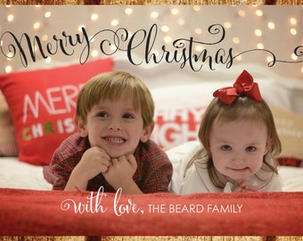 Merry Christmas Family Card, Double sided Holiday Photo Card, Personalized Family Christmas Card with Children's Ages, Custom Holiday Card