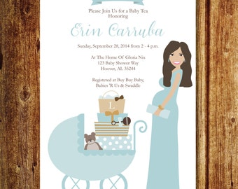 Stroller & Mommy Baby Shower Invitation