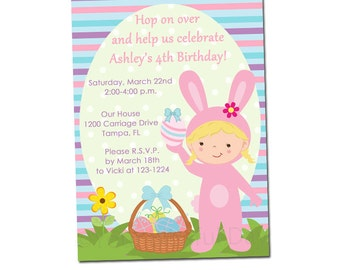 PRINTABLE Girl Easter Bunny Birthday Party Invitations (Character of your choice) #412