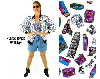 Bomber Jacket, European Landmarks Novelty Graphic Jacket Vintage 1980s Size Small Retro Kitsch
