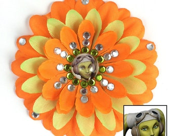 Hera Syndulla Rebels Orange and Green Penny Blossom Rhinestone Flower Barrette