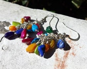 Multicolor Shell Cluster Earrings -- Mother of Pearl -- Pink Purple Yellow Blue Green Teal -- Rainbow Earrings