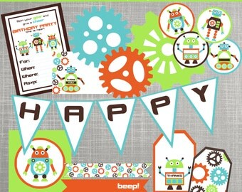 Robot Birthday Party Decorations - Robot Baby Shower Decorations - PRINTABLE / DIY - Robots & Gears Collection