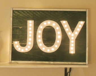 Green, Silver and White JOY Marquee Sign