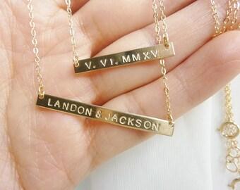 Nameplate Necklace-gold bar necklace,Bar Necklace-Name Bar Necklace-Roman Numeral Necklace-Coordinate Necklace-Longitude Latitude Necklace