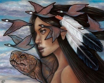 Sky Woman Iroquois Native American Mythology Pagan Turtle 8x10 fine art print