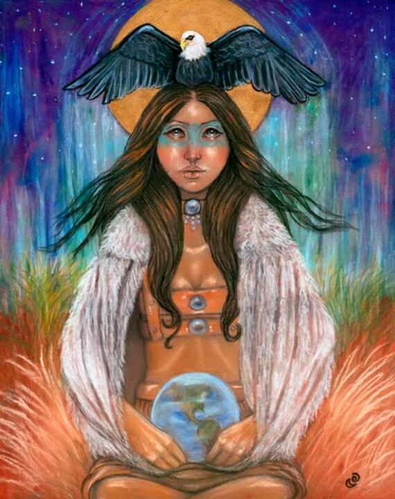 Medicine Woman Tarot By Carol Bridges: 8x10 Fine Art Print Strength Native American Medicine Woman