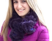 Soft Fluffy Scarf, Purple and Pink Plush Knitted Warm Winter Neck Warmer