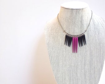 Hot Pink and Black Necklace, Modern Cascade Beaded Short Necklace with Silver Chain and Lobster Clasp