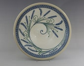 Extra Large Stoneware Bowl  Blue Wheat with Green Accents Spiral Swirl  Pattern on white background