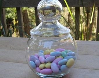 Crystal Canister - Apothecary Jar - Ball Shape - Crisa - Vanity Craft Storage - Oak Hill Vintage