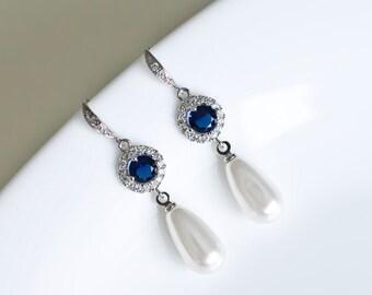 Bridal Earrings, Bridal Pearl and Blue Sapphire Earrings, Something Blue Earrings, Wedding Jewelry, Bridal Jewelry