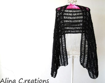 "Crochet stole,scarf,wrap,black,wool yarn and lurex,women fashion,free shipping,made in Italy,""SparklyBlack"""