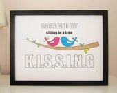 Personalised Love Birds Print - Personalized Love Birds Print - Romantic Print - Anniversary Print - Valentines Print