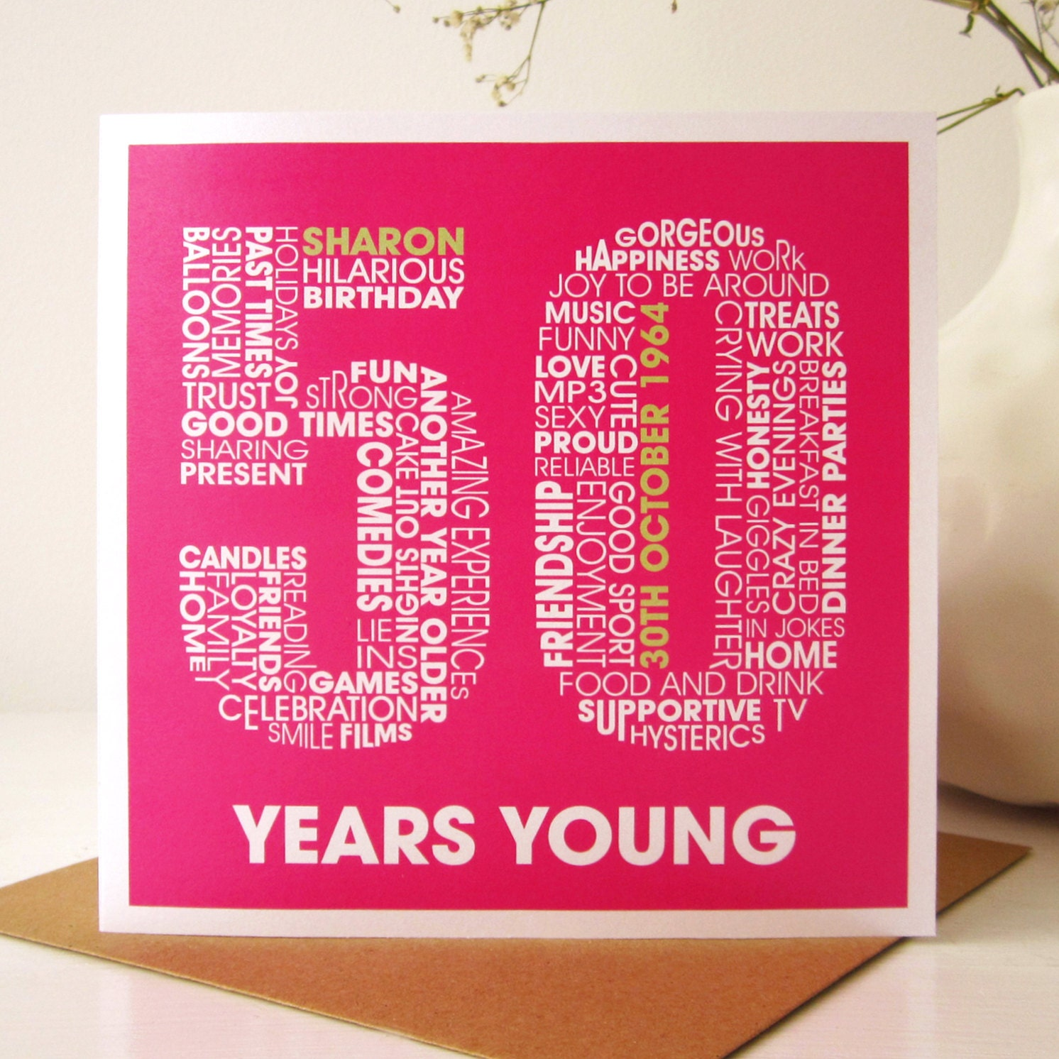 50th Birthday Card Fiftieth Personalized 50th By MrsLcards