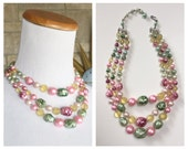 Pastel Beaded Necklace * Triple Strand Beads * Vintage 1960s Necklace