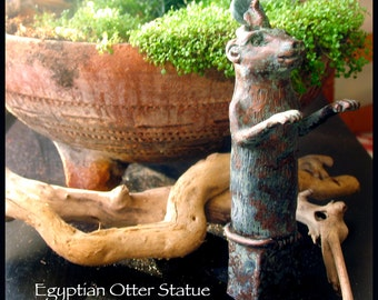 Otter Altar Statue - Egyptian Votive Statue with Green- Gray Marble Solar Disc - Handmade Statue with Bronze Patina Finish