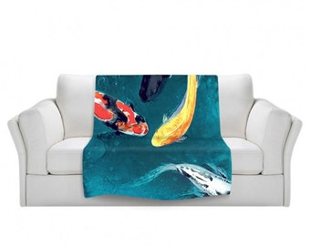 Fleece Blanket - Koi Fish Watercolor Painting - Home Decor Cozy Living Room