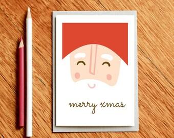 Happy Santa Christmas card, Cute Christmas Card, Funny Holiday Card, Funny Xmas Card, Christmas Gift, Xmas Gift, Santa Card, Christmas Cards