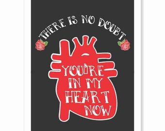 Typography Art Print - You're in My Heart - black red white anatomical heart roses hardcore badass 80s metal rocker chic romantic