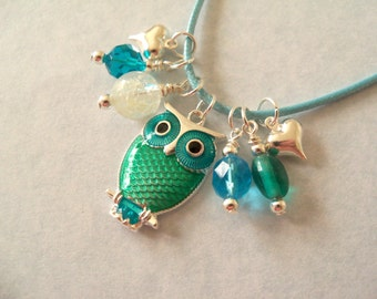 Girl Owl Necklace, Glow in the Dark, Charms, Beads, Blue, Aqua Blue