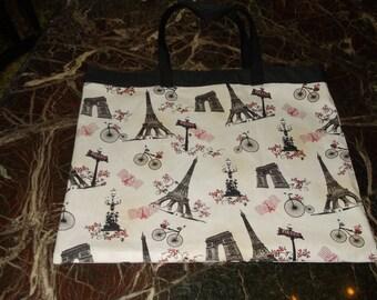 "PARIS FABRIC BAG  ""Going Green Bags"" XLg  Paris France Eiffel Tower Reusable Market Bag affordable Eco-Friendly Gift"