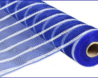 CLEARANCE - 21 Inch Royal Blue Thin White Striped Deco Poly Mesh Roll RE1033N6, Deco Mesh Supplies