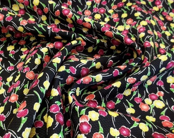 Bright and Vibrant Flower Bud Cotton Piqué Fabric