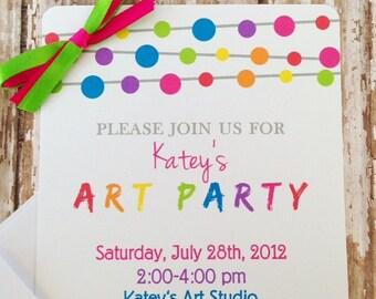 12 art party invitations with envelopes, art party invites, paint birthday party invitations, rainbow birthday invites--5x7 size