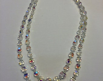 Gorgeous Vintage Crystal Beaded Necklace Double Strand