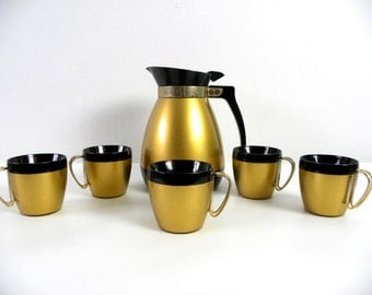 VIntage 1960s West Bend Thermos Serv Coffee Pitcher with Five Thermos Cups