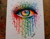 20 x 30 inch HUGE Stretched Canvas Art Print - Eye Candy - Rainbow Eye Painting Colorful Fashion Pop Art Print - Ready To Hang Gift Art