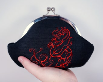 Black silk clutch with red chinese dragon embroidery, personalized clutch, wrist strap, Black clutch, small clutch purse wristlet