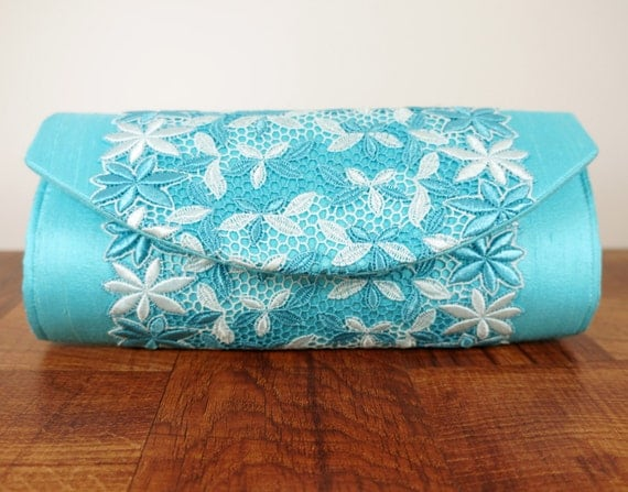 Turquoise clutch, blue clutch purse, silk clutch bag with turquoise and cream lace, spring fashion, lace fashion
