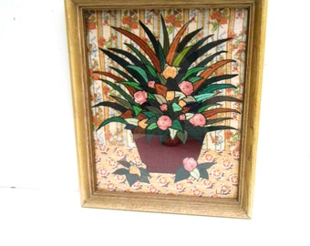 Kitschy Embroidered Quilt Framed Picture, Wood Framed Floral Picture, Colorful Kitschy Quilted Picture