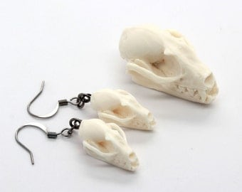 mini replica resin bat skull earrings