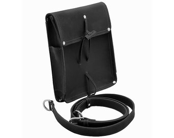 Leather Writer's Bag, Satchel for iPad, EDC, Purse - Charcoal Black